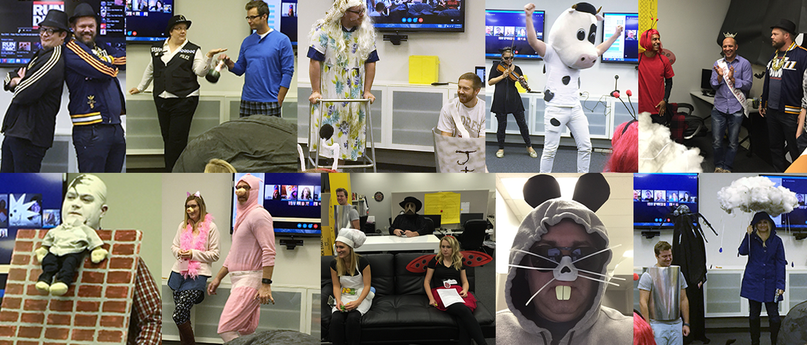 Our remote employees joined us via Skype for Business, and shared their camera feeds with us to show off their costumes.